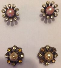 Two Pair Of Beautiful Magnetic Earrings Pink/Gold Pearl White And Yellow Stones