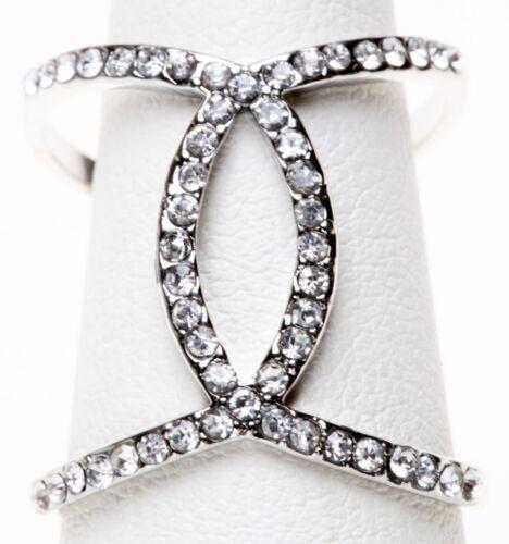 EXPRESS OPEN CRISSCROSS PAVE RING sz 7 silvertone