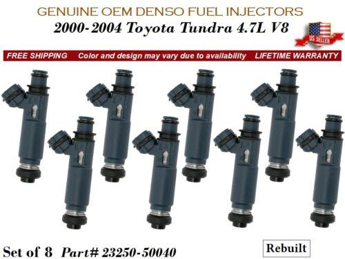 8 Fuel Injectors OEM DENSO for 2000-2004 Toyota Tundra 4.7L V8 #23250-50040