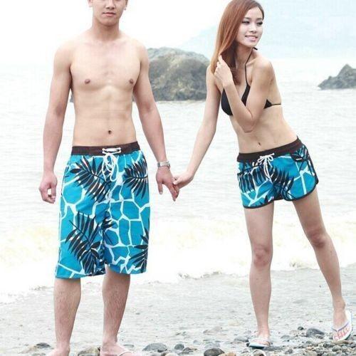 Fashion Mens Womens Lovers Beach Surf  Board Swim Shorts Casual Swim Pants C18b