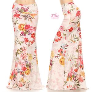 c835a1050dfc5 Floral Rose Off-white Sublimation high waist maxi long skirt S/M/L ...