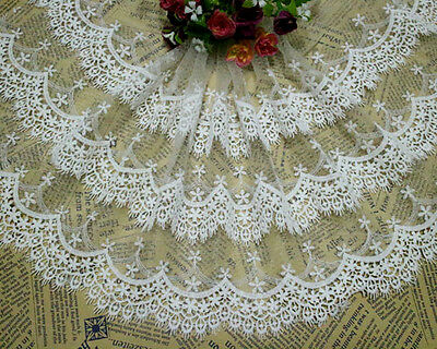 "10""* 1.6 Yards White 3 Layers Embroidery Tulle Lace Fabric Trim ~ Bridal dress"