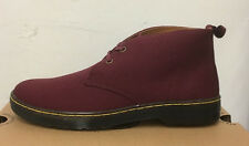 DR. MARTENS MAYPORT OLD OXBLOOD  OVERDYED TWILL CANVAS  BOOTS SIZE UK 9