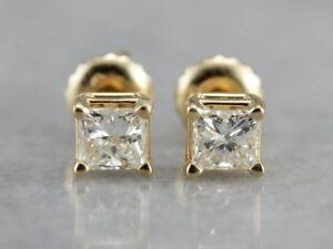 0-60-Ct-Princess-Cut-Diamond-Fine-14k-Yellow-Gold-Solitaire-Square-Stud-Earrings