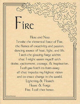 "Fire Evocation Parchment Poster  8 1/2"" by 11"""
