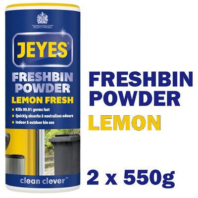2 x JEYES FLUID FRESH BIN FRESHBIN WASTE WHEELIE BIN POWDER FRESHENER LEMON 550G
