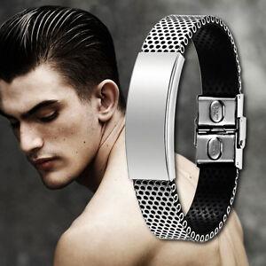 Neu-Mensh-Armband-Edelstahl-Kautschuk-Leder-Optik-Herrenarmband-Armreif-HOT-N3Y2