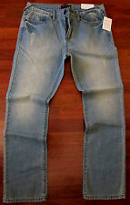 Guess Slim Straight Leg Jeans Men Size 30 X 32 Vintage Distressed Light Wash NEW