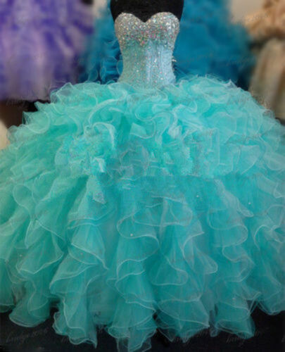 New Aqua Quinceanera Dresses Ball Gown Formal Prom Party Pageant Dress size2-16