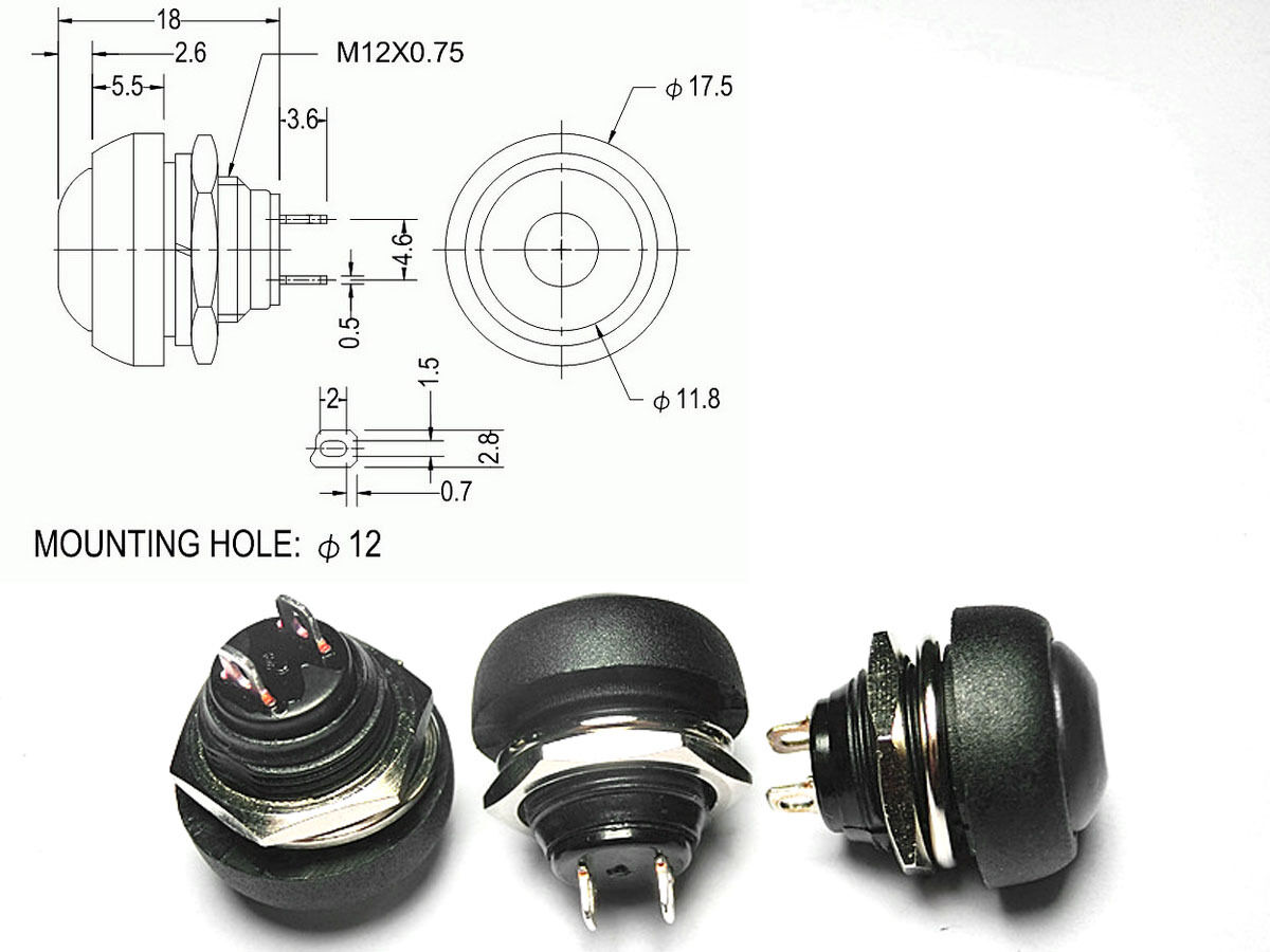 100PCS Black 12mm Waterproof Momentary ON/OFF Push Button Round SPST Switch