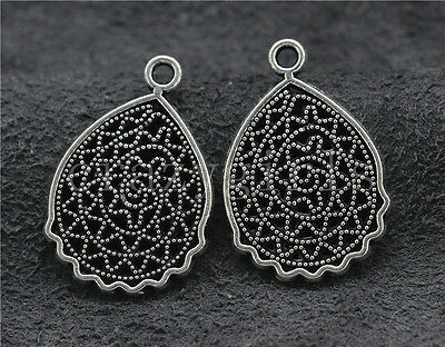 10/40/200pcs Antique Silver Hollow Flower Jewelry Finding Charms Pendant 25x17mm