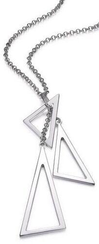 """16/"""" ELLE BIJOUX 2/"""" Sterling Argent Collier Avec Triple Triangle Pendentif"""