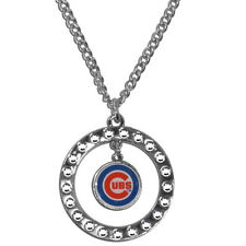 """MLB Chicago Cubs Rhinestone Hoop Necklace Circle 18"""" Jewelry Pendant Charm"""