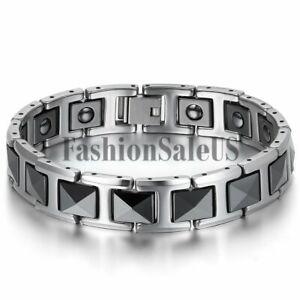 Men-039-s-Silver-Tungsten-Carbide-Black-Ceramic-Magnet-Charm-Health-Bracelet-Chain