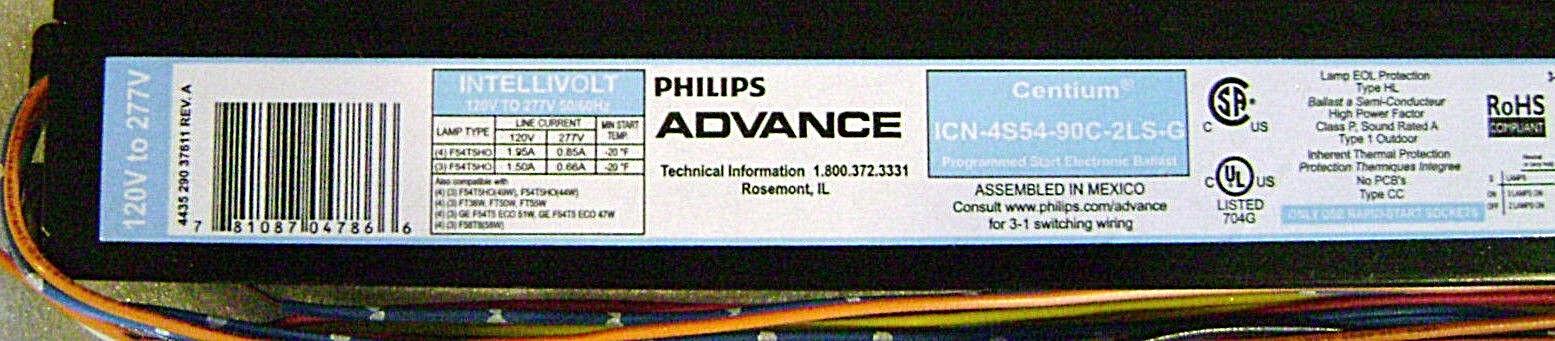 120V-277V New /& Sealed Philips Advance Centrium ICN-2S39-T Electronic Ballast