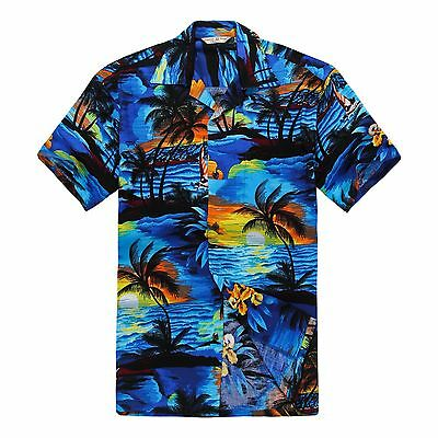 Men Aloha Shirt Cruise Tropical Luau Beach Hawaiian Hawaii Rayon Sunset Blue