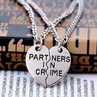 Silver Plated Heart Partners in Crime Sisters Best Friend Couples Necklaces 2pcs