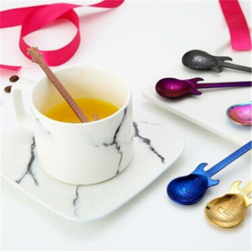 Stainless Steel Guitar Spoons Rainbow Coffee Tea Spoon Flatware Tool Creative Q