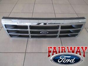 92-thru-97-F-250-F-350-OEM-Genuine-Ford-Platinum-Chrome-Grill-Grille-w-Emblem