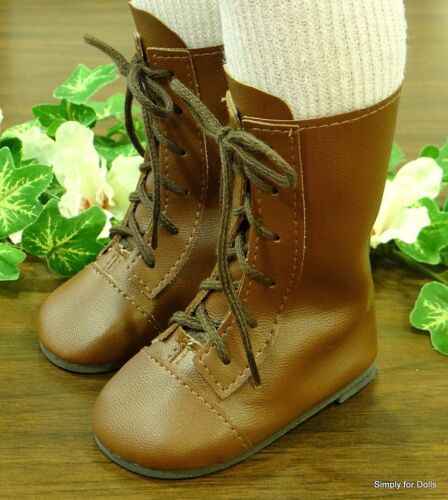 """SHOES fits 23/"""" Poseable Doll MY TWINN Brown Lace-up DOLL BOOTS"""
