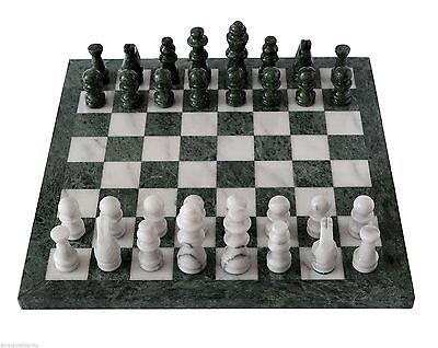 Forte Scacchiera Con Intarsi Marmo Bianco Verde Marble Inlays Chessboard Chess 40x40cm Durevole In Uso