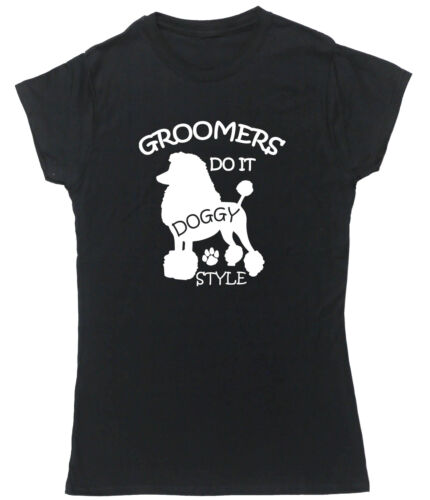 Groomers Do It Doggy Style t-shirt fitted short sleeve womens