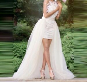 UK-New-off-white-Tulle-Detachable-Train-Wedding-Skirt-Size-10-with-50cm-Train