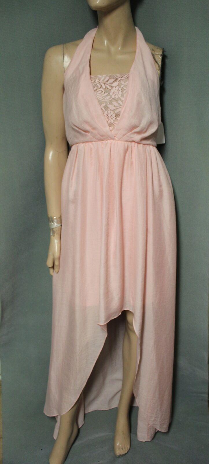 Jessica Simpson  168 English pink High Low Halter Maxi Dress size 12 NEW