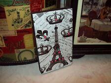 Paris decor Eiffel Tower block crown fleur de lis shelf sitter sign French decor