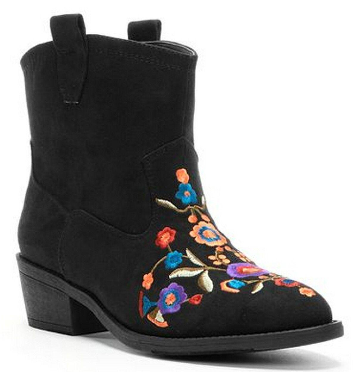 Mudd Negro Imitación Gamuza para mujer Western Bordado Floral Botín botas 6M