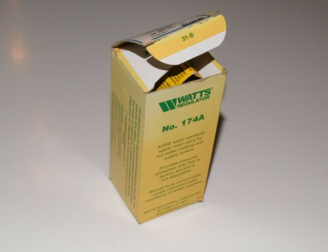 "Watts 174A regulator safety relief 3/4"" NPT, SKU 0274437, new, 12-month warranty"