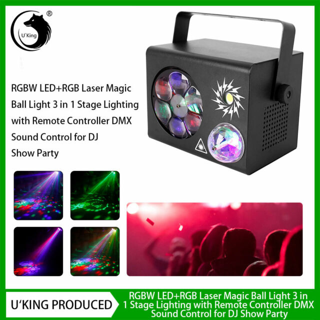 3in1 RGB Laser+RGBW LED Stage Light DMX Beam Magic Ball DJ Show Disco KTV Party