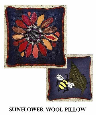 "Wool Applique Pattern by BBD Creations ""Sunflower Wool Pillow""  (12"" Square)"