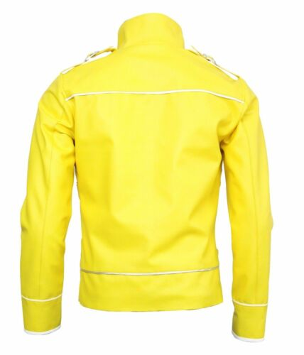 New Men/'s Freddie Mercury Wembley Concert Yellow Biker Jacket Faux Leather Coat;