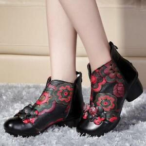 Retro-women-039-s-national-style-patent-leather-ankle-boots-shoes-size-4-5-8-5-black