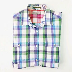 Ted-Baker-London-Mens-Size-2-Small-Colourful-Check-Button-Up-Collared-Shirt