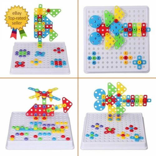 3D Kids Construction Set Building Toy Electric Drill Creative Educational Mosaic