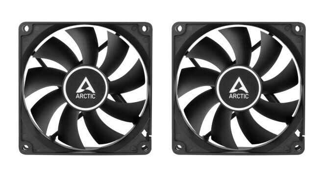 2 x Pack of Arctic Cooling F8 PWM Black 80mm 8cm Black PC Gaming Case Fans, 4Pin