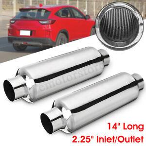2x-4-034-x-2-25-034-x-10-034-Universal-Exhaust-Muffler-Back-Box-Resonator-Stainless-Steel