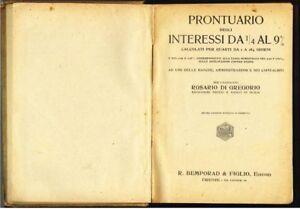 Rosario Di Gregorio, Prontuario degli interessi dal 1/4 al 9% (1926) Bemporad