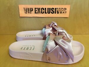 Puma Rihanna Fenty Slides Bow Pink Silver 365774-03 Womens Sizes ... d0667fbe9