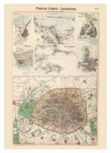 Old Vintage Decorative Map of Paris Marseille Toulon Le Havre Fullarton 1872