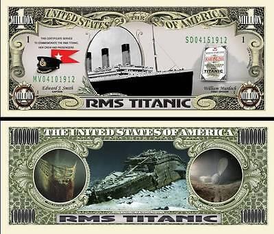 Original RMS Titanic Million Dollar Bill Funny Money Novelty Note FREE SLEEVE