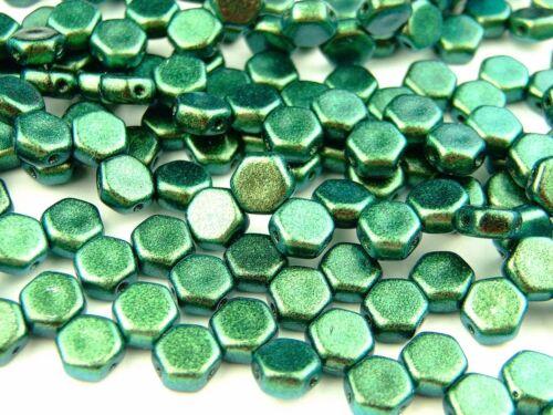 30x Czech Honeycomb Beads 6mm Hexagonal 2 Hole Motley Viridian