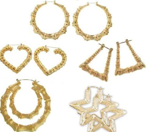 Silver 9CM BAMBOO Large Earrings Girls Hoop Hip Hop Circle Trapezoid Heart UK