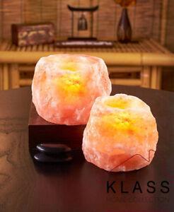 2 X HIMALAYAN NATURAL CRYSTAL ROCK SALT CANDLE TEA LIGHT HOLDER HEALING GIFT