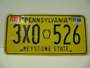 Details About Classic Pennsylvania License Plate 1986 To 87 3x0 526 Used