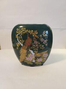 ASAHI Japan Porcelain Vase Dark Green Floral with Peacock Gold Gilt
