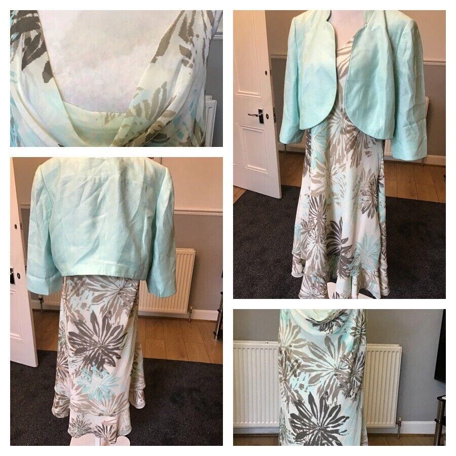 Jacques Vert Mint Green Chiffon Julep Dress 24 Jacket Only Size 22