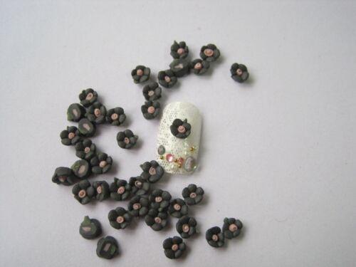 30pcs Cute 6MM Handmade 5-petal Ceramic Flower Nail Art Decoration CF1